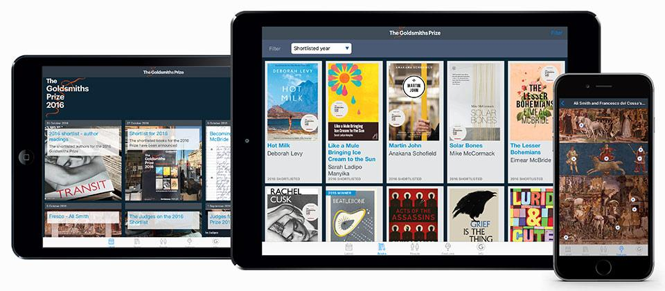 A composite image showing Goldsmiths Prize app on an iPad and iPhone