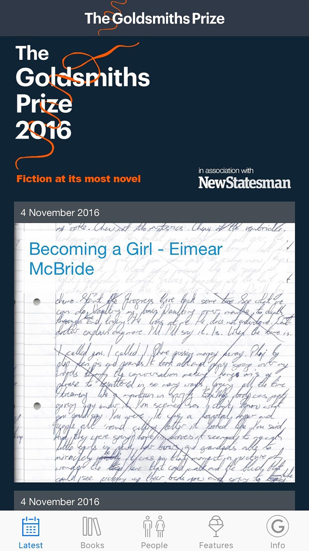 Goldsmiths Prize app on an iPhone with detail of Eimear McBride's manuscript for 'A Girl is a Half-formed Thing'.