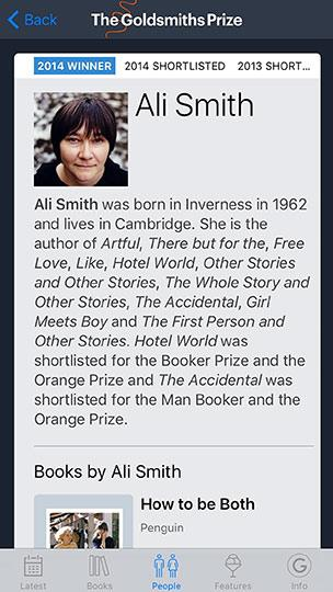 Screenshot of the Goldsmiths Prize app on an iPhone, showing the Ali Smith author page.