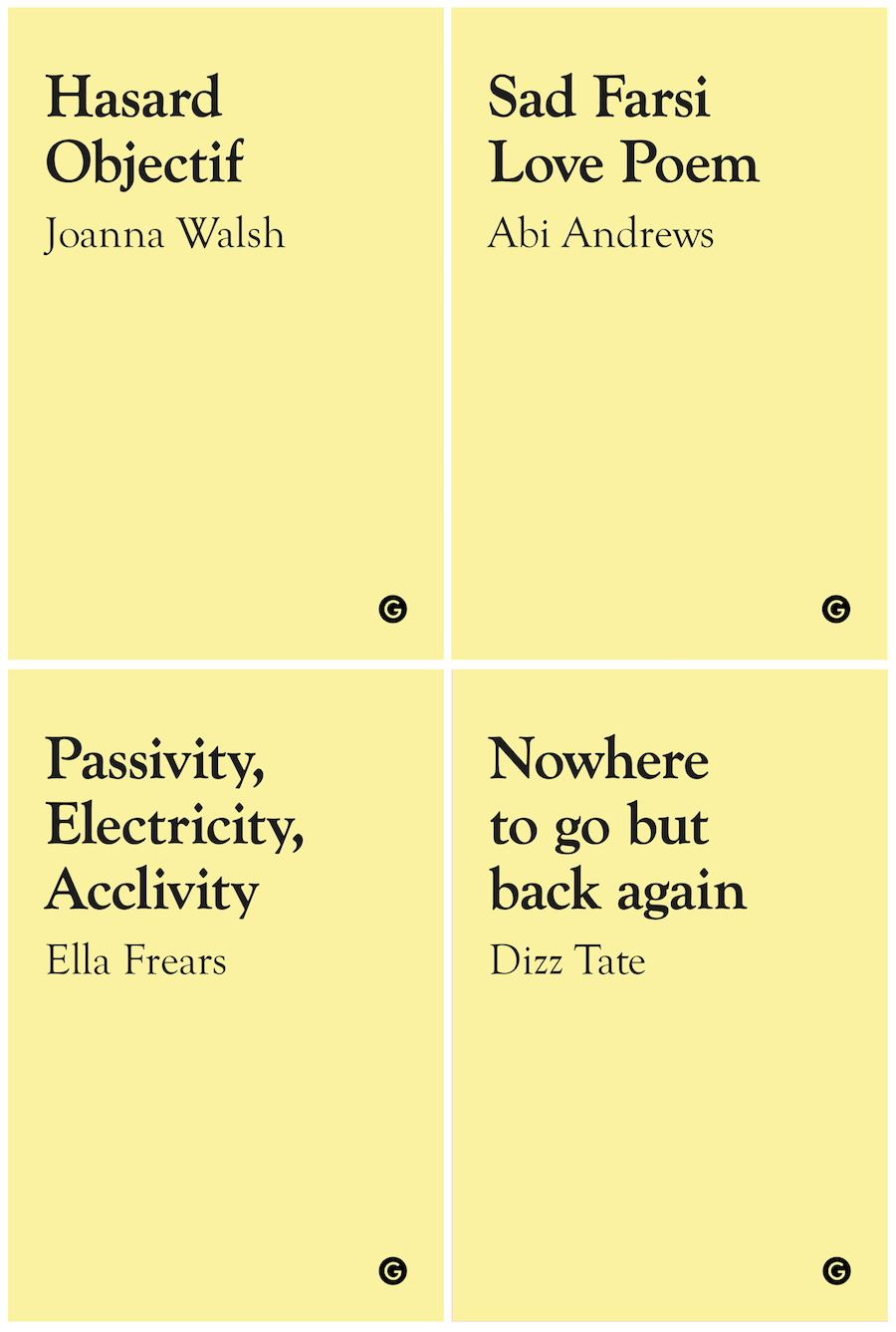 A composite image showing the covers of our first four Goldsmiths Shorts pamphlets