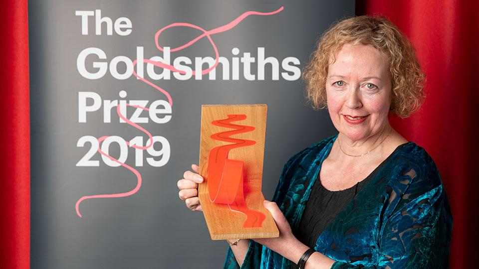 Lucy Ellmann with her Goldsmiths Prize