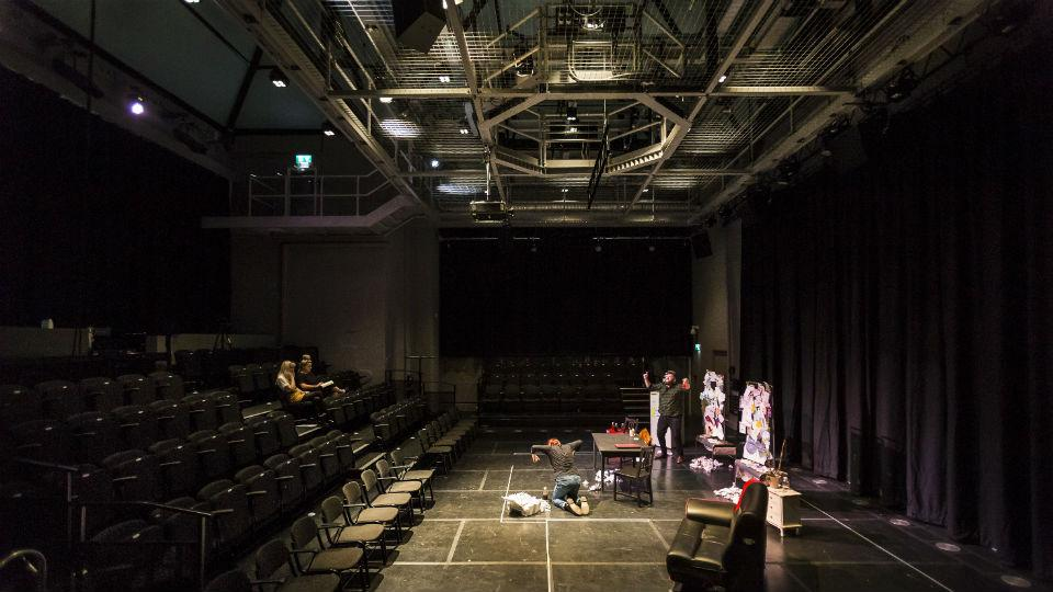 Alumni group Ghosted Ink, Theatre and Performance's Associate Artists for 2018-19, rehearse in the new theatre.