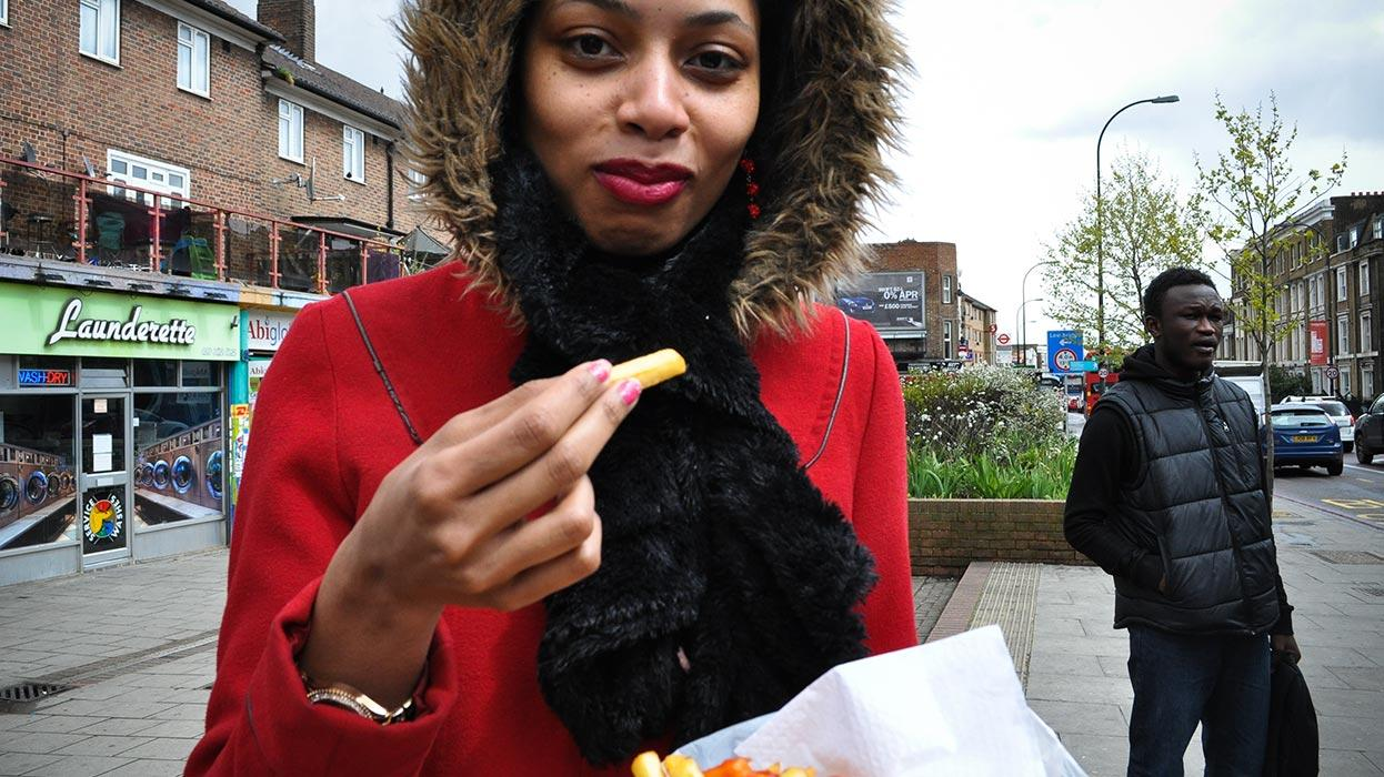 Eating chips in New Cross