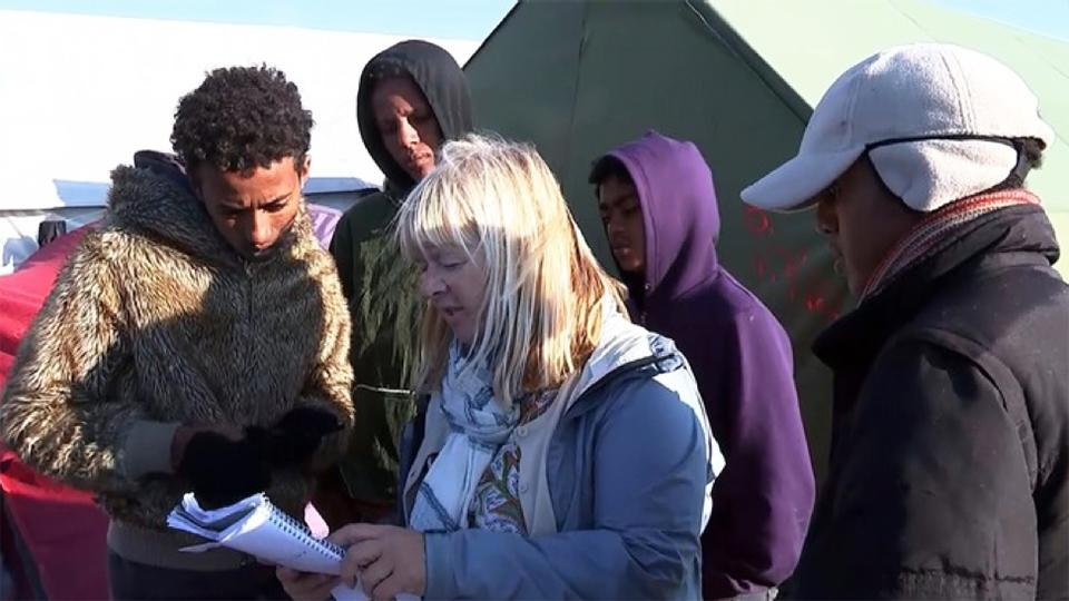 Sue Clayton at the Calais Jungle camp.