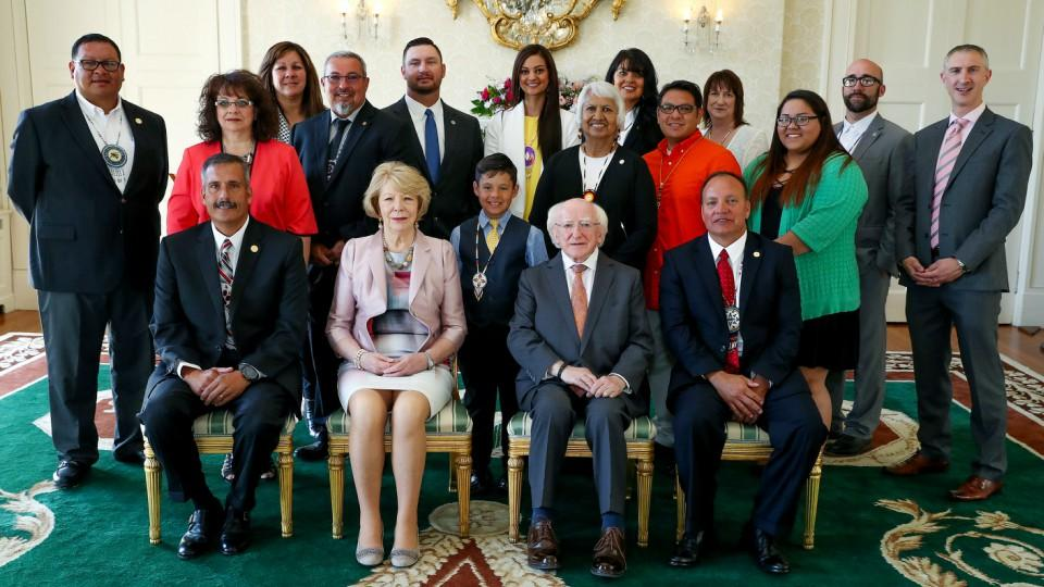 Padraig Kirwan (right) with Irish President Michael D Higgins and delegates from the Choctaw Nation