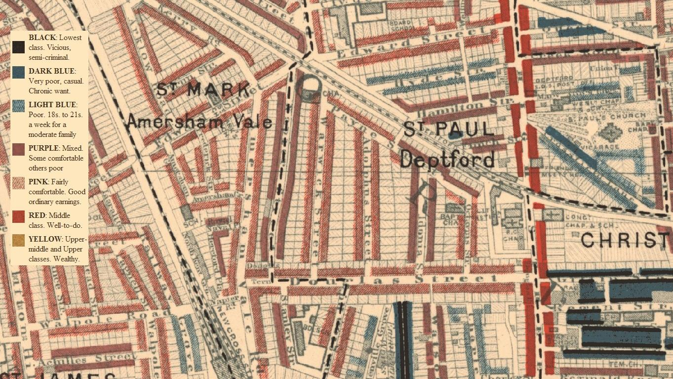 A section of Charles Booth's famous poverty map of London, focusing on Deptford and New Cross.