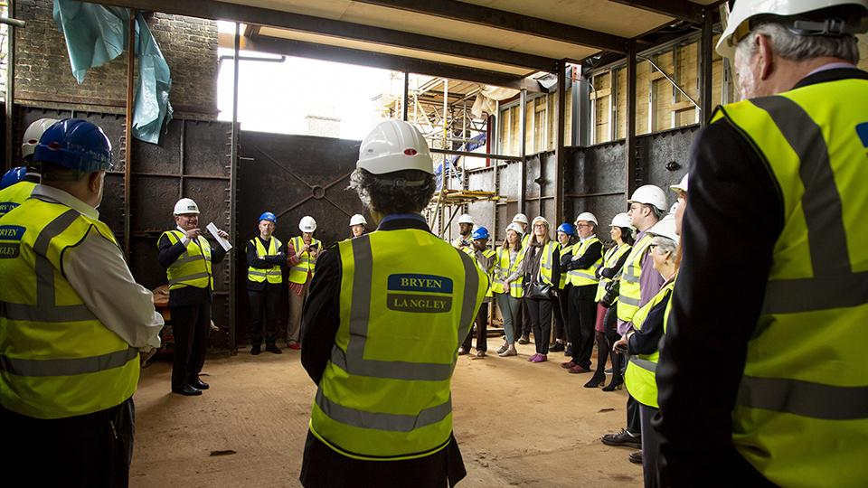 Warden of Goldsmiths, Patrick Loughrey gives a speech to guests at the Goldsmiths CCA topping out celebration.