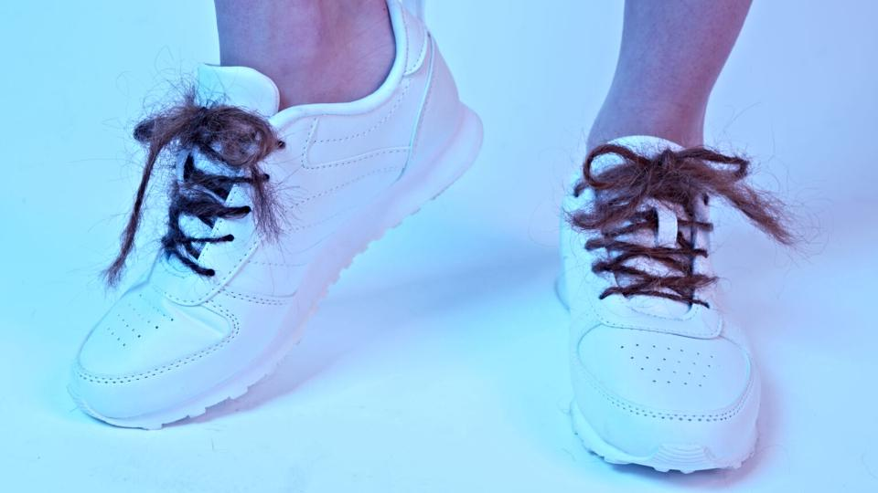 A pair of shoelaces made from human hair