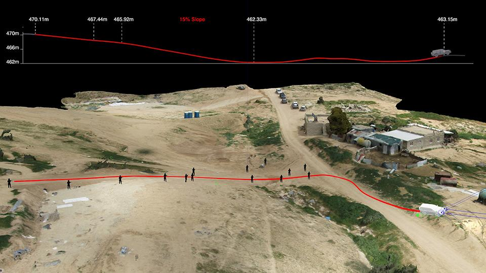 Forensic Architecture used a 3D model to examine whether Abu al-Qi'an's car could have rolled downhill of its own accord toward Israeli policemen.