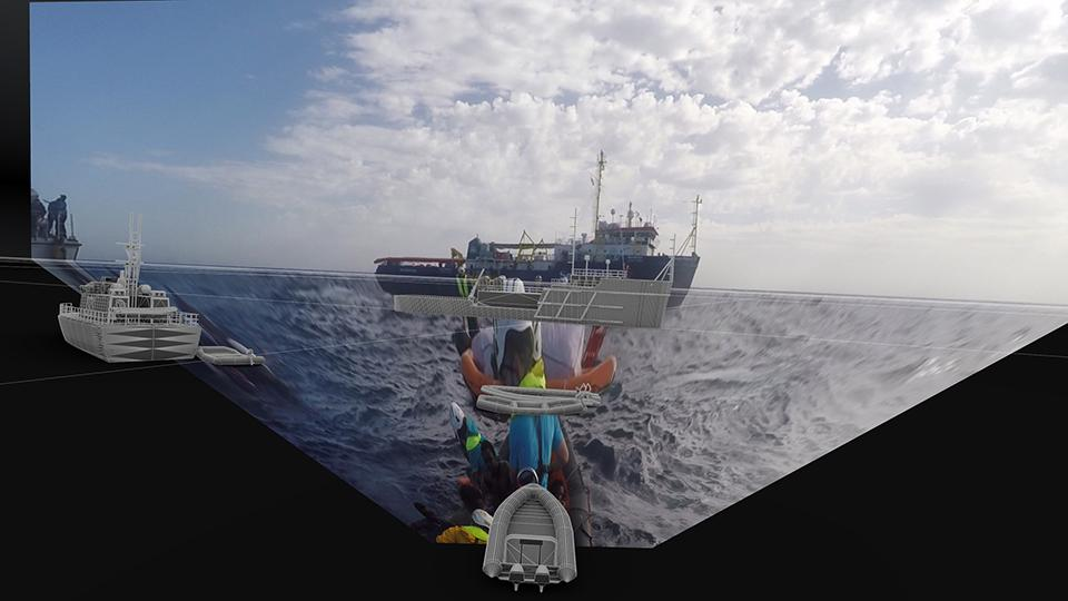 Image projected onto a 3D model in order to reconstruct search-and-rescue operations by the Libyan Coastguard