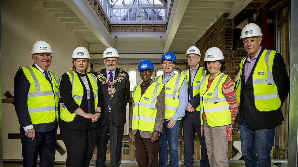 At the Goldsmiths CCA topping out: L to R]: Warden of Goldsmiths, Patrick Loughrey, Goldsmiths CCA Director Sarah McCrory, Mayor of Lewisham Sir Steve Bullock, Councillor Obajimi Adefiranye (Brockley), Councillor Paul Maslin (New Cross) , Director, Bryen & Langley, Andrew Macpherson, Councillor Joan Millbank (Telegraph Hill), and Head of the Department of Art at Goldsmiths, Richard Noble.