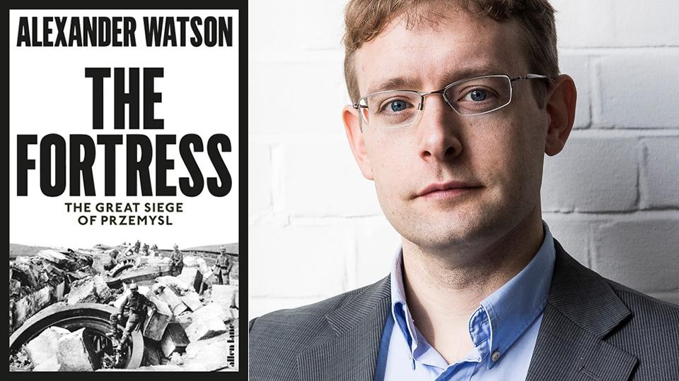 The book cover of The Fortress and a portrait of the author Alex Watson