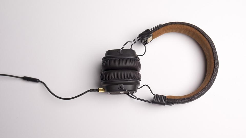 A pair of headphones on a white background