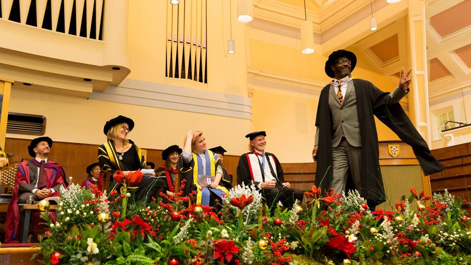 Lenny Henry receives his Honorary Fellowship from Goldsmiths in 2017. The Great Hall will host Goldsmiths graduation ceremonies again from summer 2020.