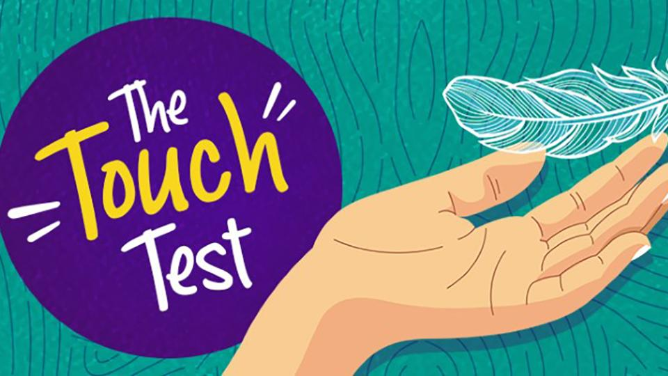 The touch test logo and visual imagery