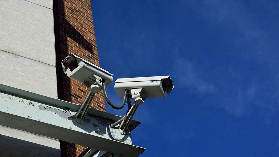 A photograph of some CCTV cameras