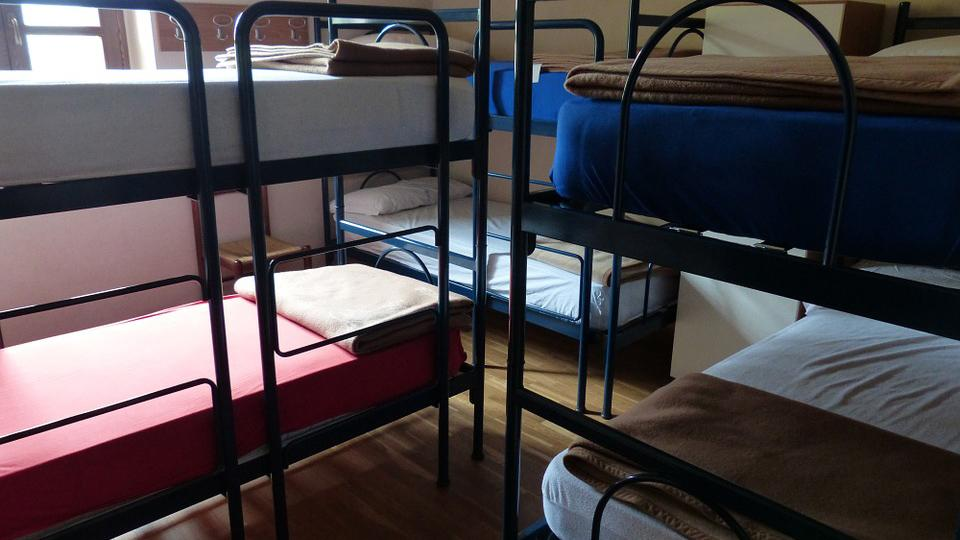 Bunkbeds in a hostel room