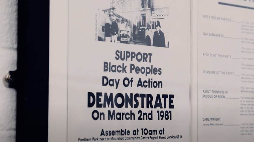 Image shows a black and white poster giving the time, date and location for the 1981 Black People's Day of Action