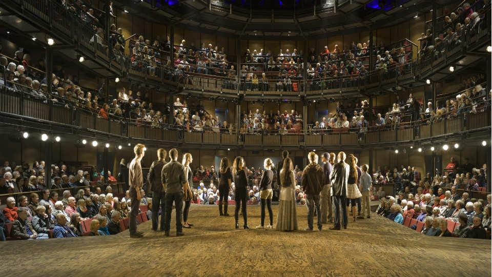 The auditorium at the Royal Shakespeare Company, Stratford-upon-Avon.