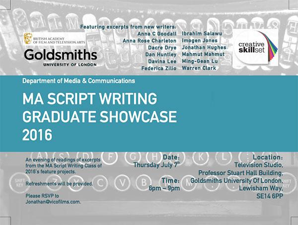 MA Script Writing | Goldsmiths, University of London