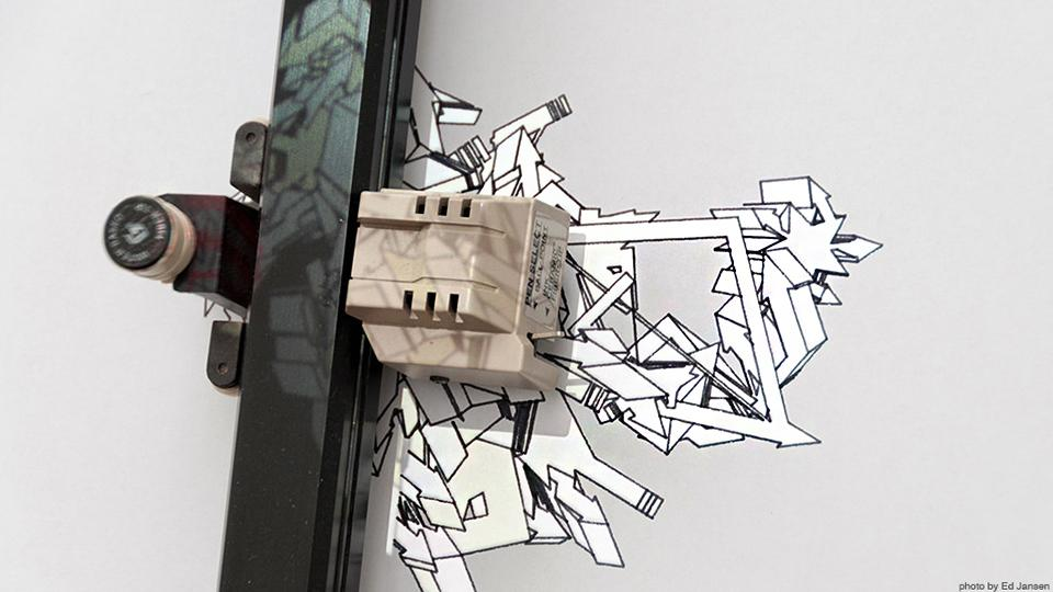 Robotic machine drawing graffiti