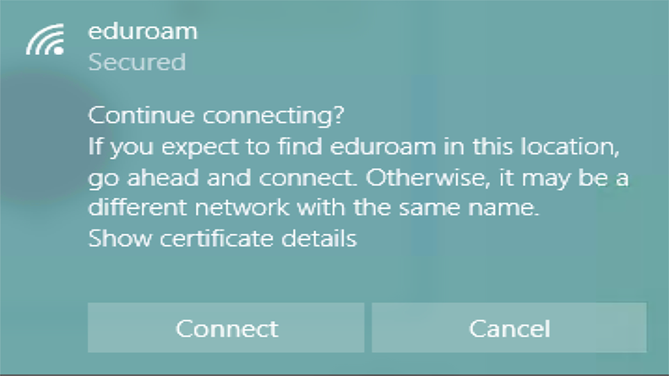 eduroam security prompt Windows