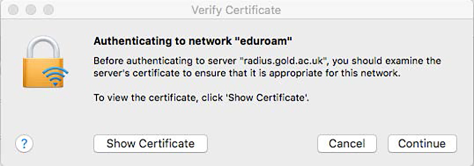 Certificate pop up Mac