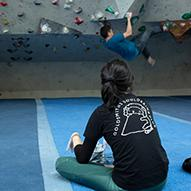 Students doing bouldering
