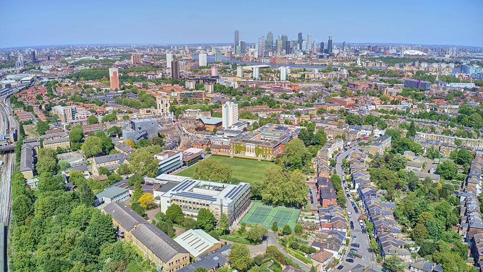 A drone image of the Goldsmiths campus
